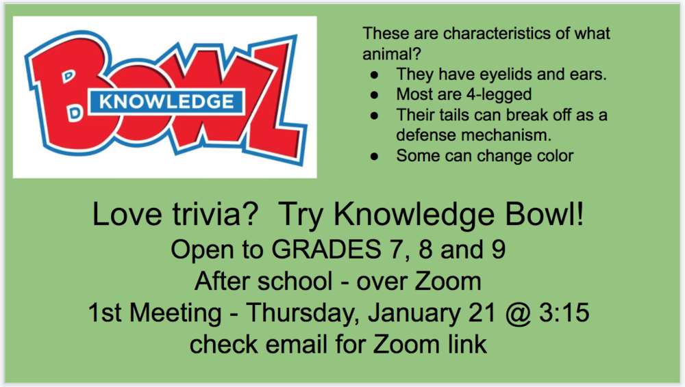 Knowledge Bowl for Grades 7, 8 and 9 is Starting!